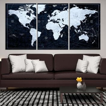 62421 - White Colored Push Pin World Map on Jet Black Background