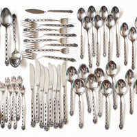 Vintage Northland Oneida San Francisco Stainless Steel Flatware Set, Diamond Scroll Silverware Forks Spoons Knives Serving Pieces, 52 PIECE