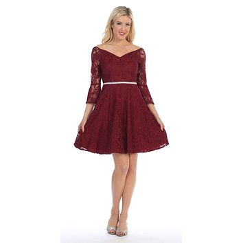 Lace V-Neck Wedding Guest Dress with Bell Sleeves Burgundy