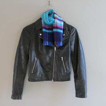 Petite Black Biker Jacket Premium Soft Synthetic Leather Satin Lining Timeless Biker Jacket 90s Vintage Size XS #O143A