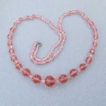 "1920's Vintage Coral PINK Crystal Graduated Bead 26"" Long Flapper Necklace, Like NEW!"