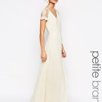 Jarlo Petite Lucia Button Through Maxi Dress With Lace Shoulders