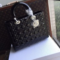 """Christian Dior LADY DIOR LARGE """"LADY DIOR"""" BAG BLACK PATENT LEATHER"""