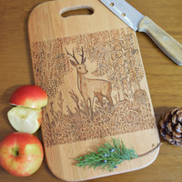 Wood cutting board,Deer burned print,Engraved serving board,bread cheese butcher,kitchen decor,chopping block,woodworking,Rustic,Cottage