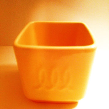 1940s Yellow Franciscan Pottery Toastmaster Jam Jar Mid Century Vintage Yellow Square Jam Jar