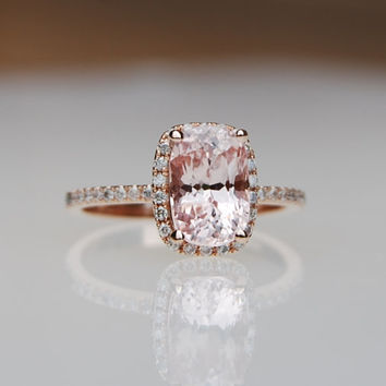 2.37ct Cushion peach champagne sapphire in 14k rose gold diamond ring engagement ring