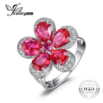 Jewelrypalace Flower 5ct Created Red Ruby Cocktail Ring 925 Sterling Silver Ring Brand Hot Fashion 2016 Fashion Gift For Woman
