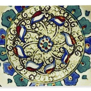 An Ottoman Iznik Style Floral Design Pottery Polychrome, By Adam Asar, No 18a - Bath Towel