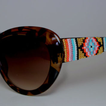 Beaded Sunglasses Gold Tribal Design Cat Eyes