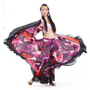 Newest style imprint flower Skirt for dancing and stage show fashion belly dance costume Skirt hot-selling