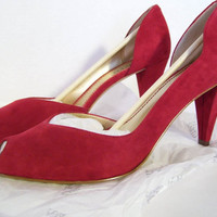 Sale Additional 20% Off Red Suede High Heels Pumps  Women's Size 11  Franco Sarto Genuine Leather