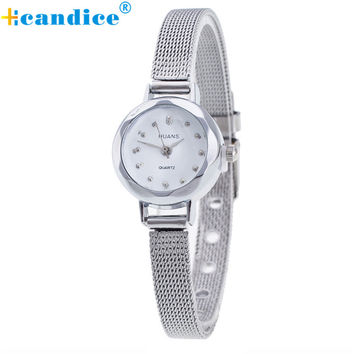 Quartz Watch Women Small Round Dial Stainless Steel Woven Mesh Band Simple Casual Ladies Wrist Watches Relogio Feminino Aug30
