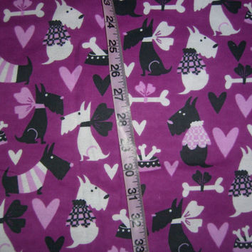 Flannel fabric with scotties scotty dog purple black white cotton quilt quilting sewing material to sew by the yard crafts  West Highland