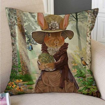 Lovely Fair Tale Alice in Wonderland Bunny Cat Hamster Owl Fox Art Drawing Children Room Decorative Throw Pillow Cushion Cover