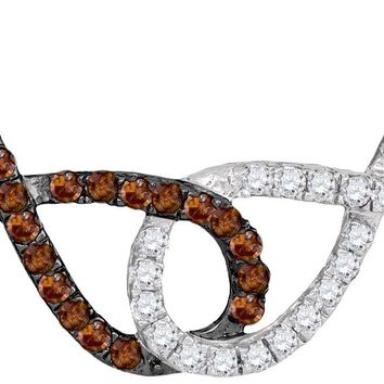 10kt White Gold Womens Round Cognac-brown Colored Diamond Double Linked Infinity Pendant Necklace 1/3 Cttw