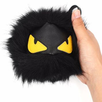 2017 Cute Plush Little Monster Keychain & Pendant Faux Raccoon Fur Yellow Eyes Key Chains For Women Bag Ball Car Key Ring Holder