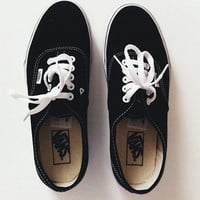 """Vans"" With Fur Warm Casual Canvas Shoes Black"
