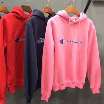 Supreme x Champion Winter Warm Fashion Casual Embroidering Long Sleeve Sport Top Sweater Pullover Sweatshirt Hoodie I-YQ-ZLHJ