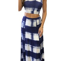 Striped Back Cross Crop Top with Long Pleated Skirt Two Pieces Dress Set