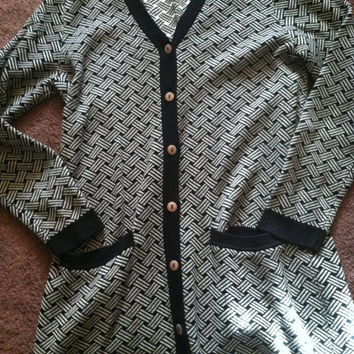 80s black and white basket weave print grandpa cardigan size M