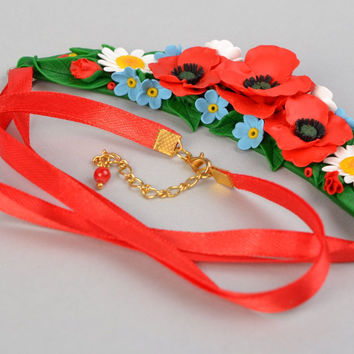 Festive handmade polymer clay colorful floral necklace on red satin ribbon gifts