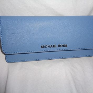 MICHAEL KORS JET SET TRAVEL FLAT WALLET SLIM CARD CLUTCH SKY BLUE LEATHER