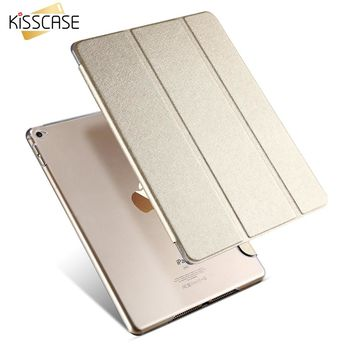 KISSCASE Smart Sleep Leather Case For iPad Air 2 Stand Flip Ultra thin Transparent Clear Luxury Cover Cases For Apple iPad Air 2