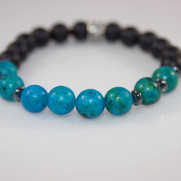 Reconstituted Jasper X Matte Black Beaded Bracelet
