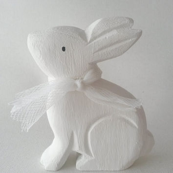 Wooden bunny decor, rabbit decor, easter bunny, spring bunny, spring decor, rabbit, bunny, ornament, white rabbit, clarashandmade