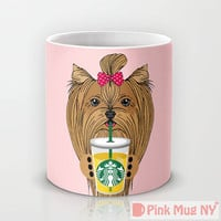 Personalized mug cup designed PinkMugNY - I love Starbucks - Yorkshire Terrier