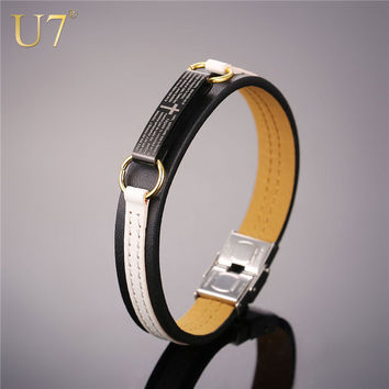 U7 Cross Leather Bracelet White Black Holy Verse Ch