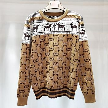 GUCCI Woman Deer Fashion Print Top Sweater Pullover
