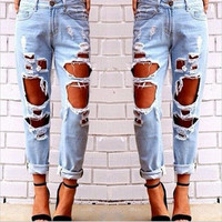 Women's sexy loose boyfriend holes ripped Jeans denims a13614
