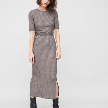 SSLV RIBBED ANKLE LENGTH DRESS SILVER