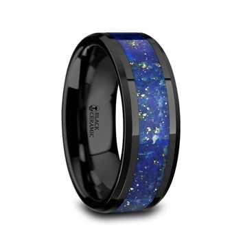 Blue Lapis Lazuli Inlay Black Ceramic Wedding Band