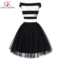 Real Picture Grace Karin Black and White Short Cocktail Dresses 2 Piece robe de cocktail Sexy Party Gown Formal GK000053