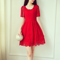 Slim Halter Openwork Lace Short-Sleeved Mini Dress