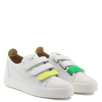 Giuseppe Zanotti Gz Jody White Calfskin Low-top With Three Straps