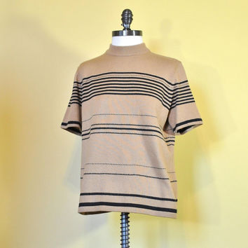 Vintage Sweater Cafe Brown 80s Women Short Sleeve Shirt Black Stripes Super Soft Minimalist Plus SIze Oversized