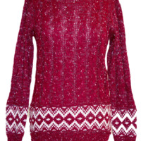 Wine Patterned Cable Knit Sweater