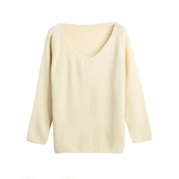 Women Loose Knitted Sweater Jumper Solid Color Sexy V-Neck Long Sleeve Casual Pull Knitwear SM6