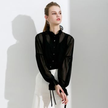 Sexy Black Crew Neckline Long Sleeves Button Up Mesh Detailing Shirt