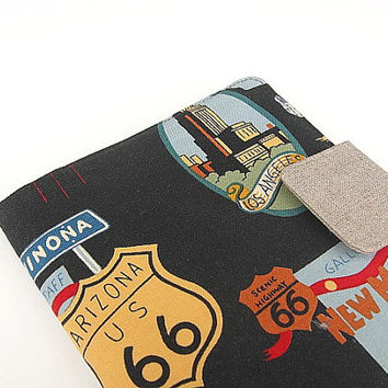 iPad Mini Cover Kindle Fire Cover Nook Simple Touch Cover Kobo Cover Case Route 66 Mother Road Trip Travel Highway Katydidstitches