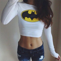 Fashion Sexy Women Clothing Batman Long Sleeve Crop top tshirt crop top for women