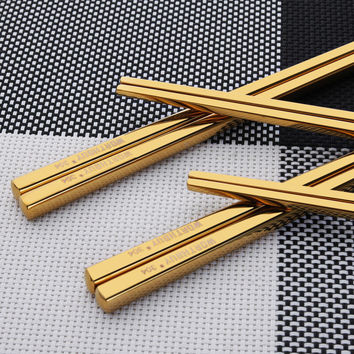 Titanium Plating Gold Chopsticks Reusable 304 Stainless Steel Chop Sticks Sets Sushi Hashi Baguette