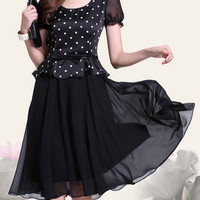 Black Printed Polka Dot Chiffon Mini Dress