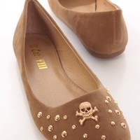 Beige Faux Suede High Polish Metal Skull Flats @ Amiclubwear Flats Shoes online store:Women's Casual Flats,Sexy Flats,Black Flats,White Flats,Women's Casual Shoes,Summer Shoes,Discount Flats,Cheap Flats,Spring Shoes,Cute Flats Shoes,Women's Flats Shoes,Sn