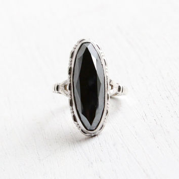 Vintage Sterling Silver Hematite Ring - Size 6 1/4 Shiny Gray Semi Precious Stone Jewelry Hallmarked Uncas