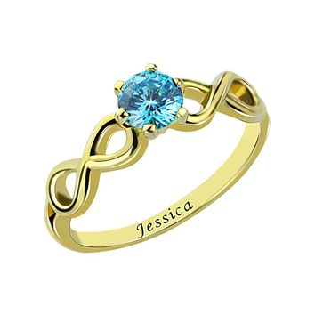 Personalized Gold Birthstone Infinity Ring