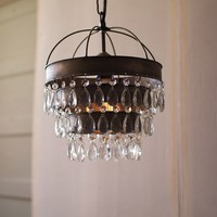 Metal Layered Pendant Lamp with Hanging Clear Glass Gems -- 10-in